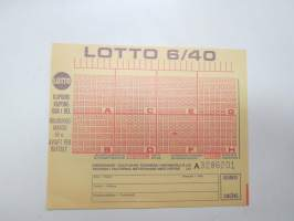 Lotto 6/40, nr 3286201 lottokuponki / lottery coupon