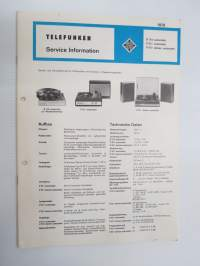 Telefunken Service Information S 110 automatic, V 511 automatic, V 511 stereo automatic -huolto-ohjeet, piirikaavio, ym.