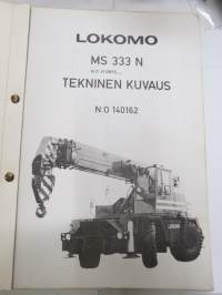 Lokomo MS 333 N autonosturi tekninen kuvaus (nr 140162) -mobile crane technical features, in finnish