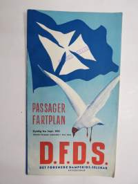 D.F.D.S. Det Forenede Dambskibs-Selskab AB Passager Fartplan 1952 -aikataulu / timetable