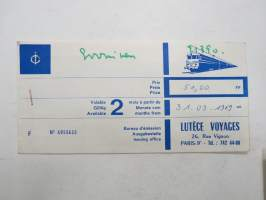 Paris-Rouen 31.3.1969 -junamatkalippu / train ticket