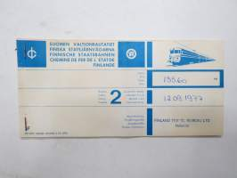 Domedossola - Ventimiglia 12.9.1977 -junamatkalippu / train ticket