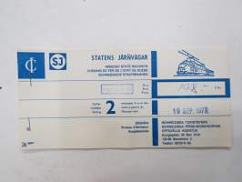 Zürich - Ziasso, 19.9.1977 -junamatkalippu / train ticket