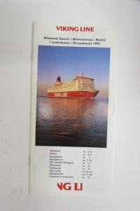 Vikinglinja (Viking Line) aikataulu & hinnat 1.5-30.9.1995 -shipowner´s timetable for the ferry traffic between Finland and Sweden