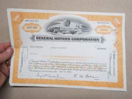 General Motors Corporation 100 shares, 1969, Mrs Carolyn M. Bundies, share certificate -osakekirja