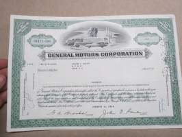 General Motors Corporation 1 share, 1964 -share certificate -osakekirja
