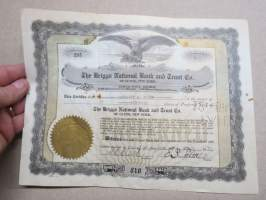 The Briggs National Bank and Trust Co of Clyde, New York, 6 shares, nr 295, 1933 -share certificate / osakekirja
