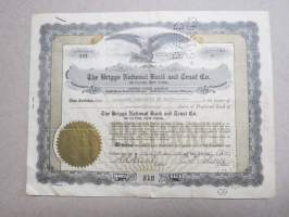 The Briggs National Bank and Trust Co of Clyde, New York, 10 shares, nr 234, 1933 -share certificate / osakekirja